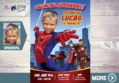 Spiderman Invitation. Spider-Man Party. Spiderman Birthday. Spiderman Party Ideas. Invitación de Hombre Araña. Spider-Man Photo Invitation. 137
