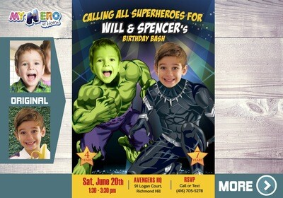 Black Panther and Hulk Birthday Invitation. Hulk and Black Panther Party. Joint Avengers Party. Siblings Avengers Party. 437
