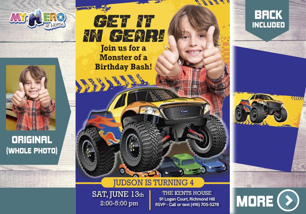 Monster Truck Birthday. Monster Truck Party Invitation. Monster Truck Photo Invitation. 442B