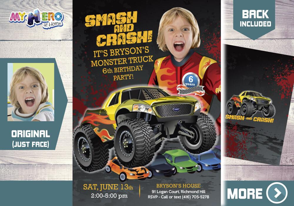 Monster Truck Party Invitation. Monster Truck Photo Invitation. Monster Truck theme party. Monster Truck Birthday. Smash and Crash. 443