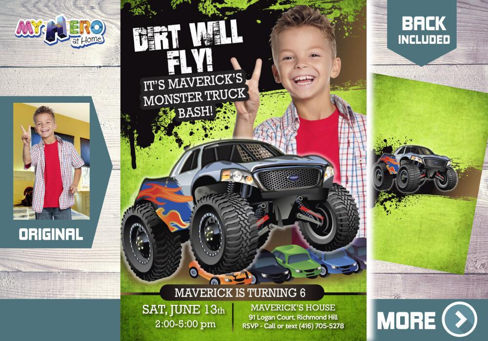 Monster Truck Photo Invitation. Monster Truck theme party. Monster Truck Birthday. Monster Truck Bash. Monster Truck Party Invitation. 444