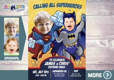 Joint Batman and Superman Invitation. Superman and Batman Joint Party. Joint Superheroes Party. Batman and Superman Birthday Invitation. 446