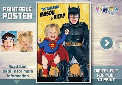 Superman and Batman poster. Super Siblings Poster. Custom Superheroes Poster. Batman and Baby Superman Poster. Super Brothers poster. 447