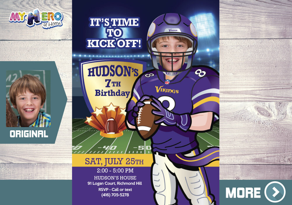 Minnesota Vikings Party. American Football Birthday. American Football Party. Minnesota Vikings Birthday Invitation. 448