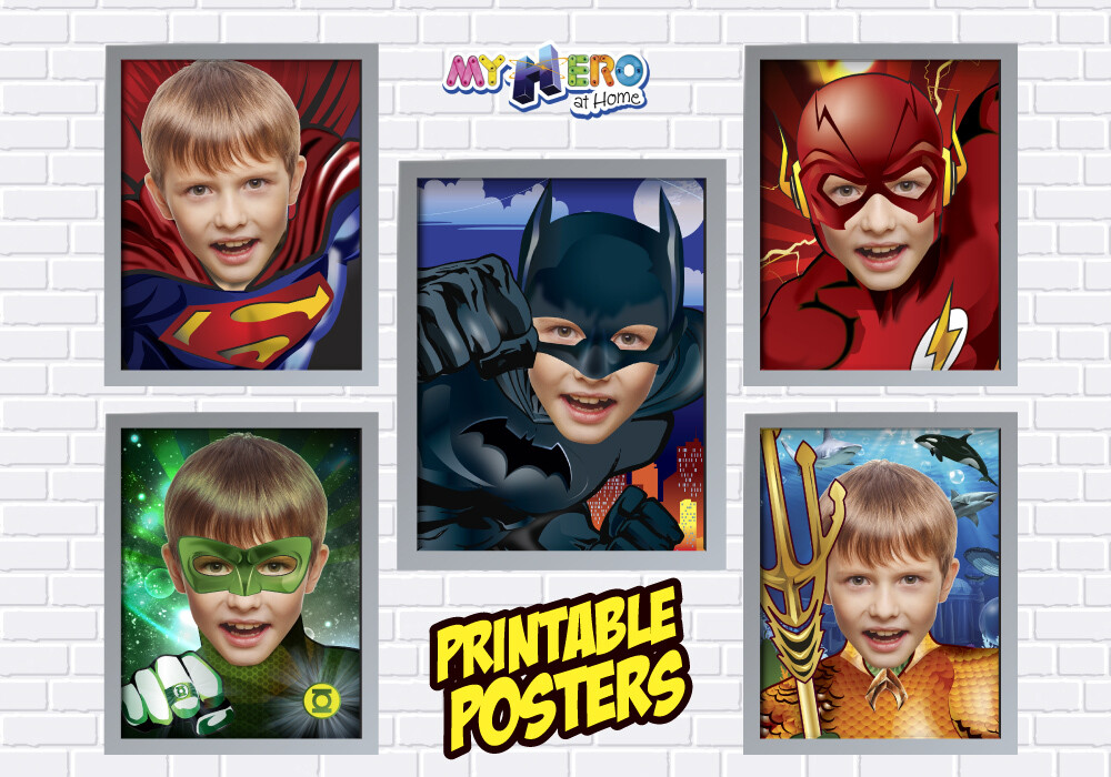 Posters of Superman, Batman, Aquaman, Flash and Green Lantern. Superheroes Wall Decor. Justice league Gifts. 411C