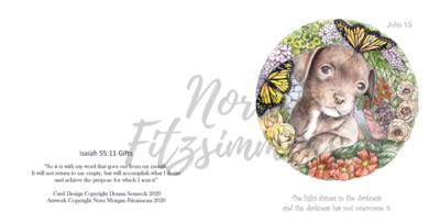 Puppy Circle of Flowers -  Faith Card
