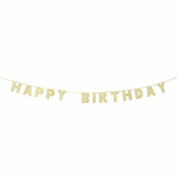 """Slinger """"Happy Birthday"""" Luxe gouden letter"""