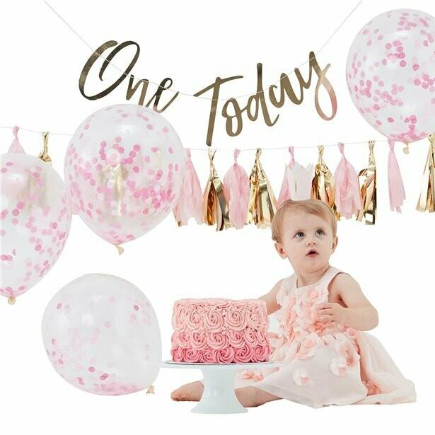 """Pastelroze 1ste verjaardag """"Cake Smash"""" pakket"""
