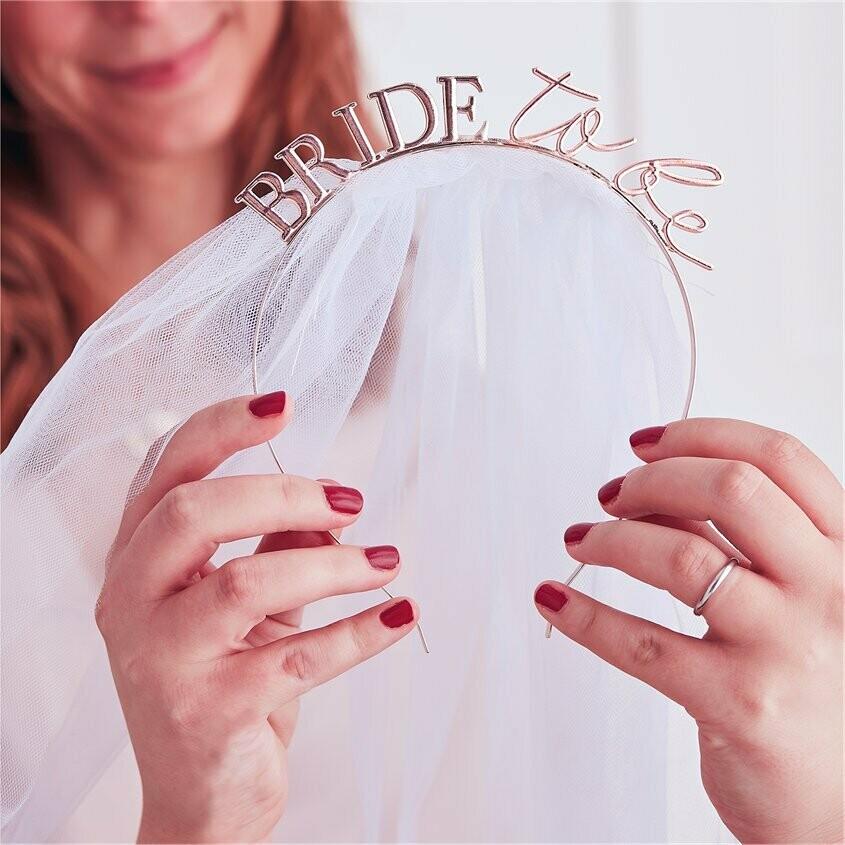 """Diadeem met sluier """"Bride to be"""" - Roségoud"""