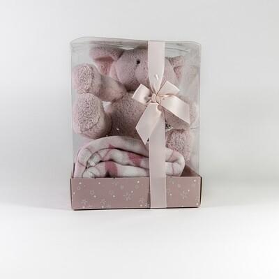 Geboorteolifant + deken (roos)
