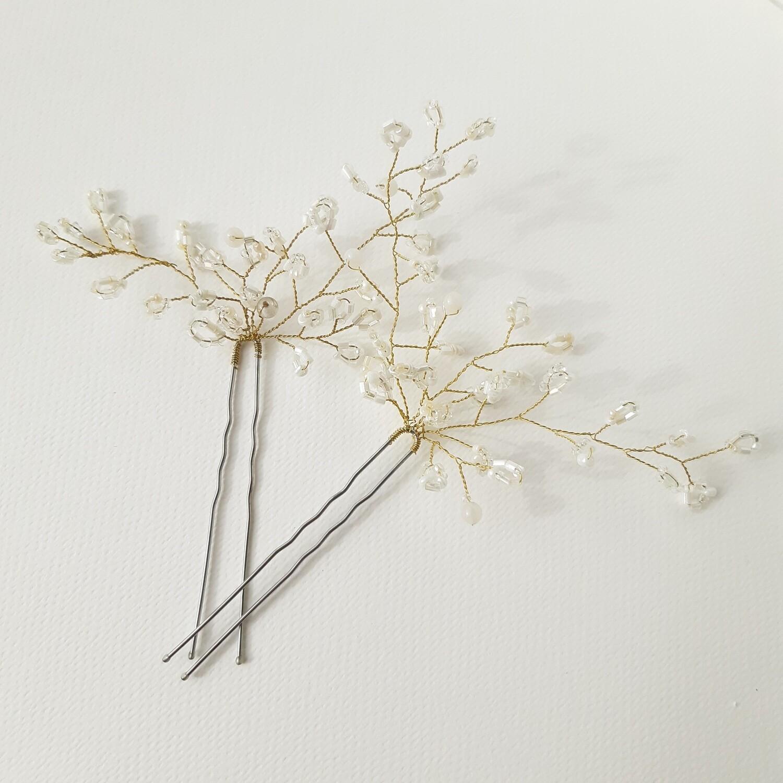 Haarpins - set van 2 pins met goud gecoate draad en fijne rocailles