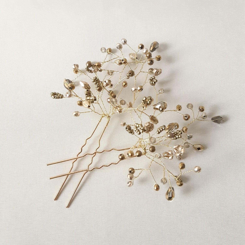 Haarpins - set van 2 pins met brons kleurige parels