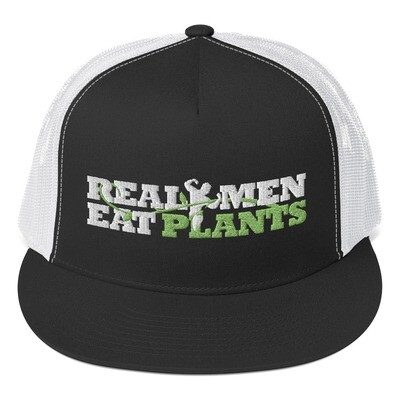 Real Men Eat Plants Trucker Hat - Black and White