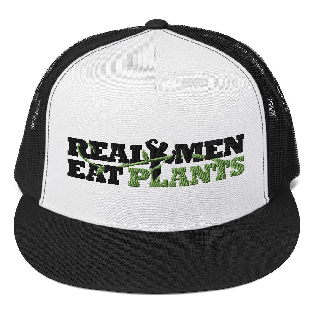 Real Men Eat Plants Trucker Cap - White and Black