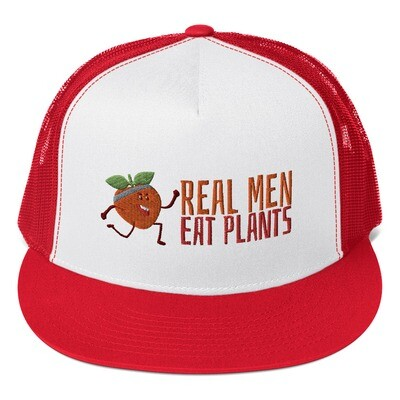 Real Men Eat Plants Trucker Cap - Red Peach