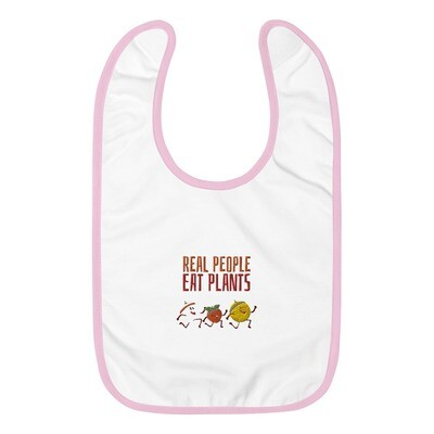 Real People Eat Plants Embroidered Baby Bib All Fruits