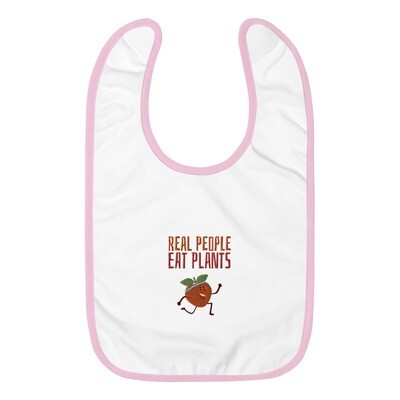 Real People Eat Plants Embroidered Baby Bib Peach