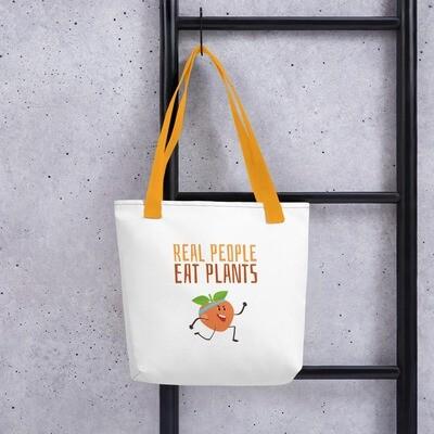 Real People Eat Plants Tote bag Peach