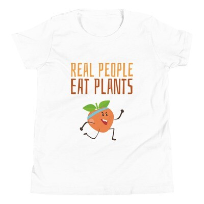 Real People Eat Plants Youth Short Sleeve T-Shirt Peach