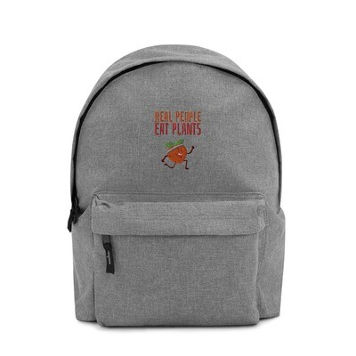 Real People Eat Plants Embroidered Backpack Peach