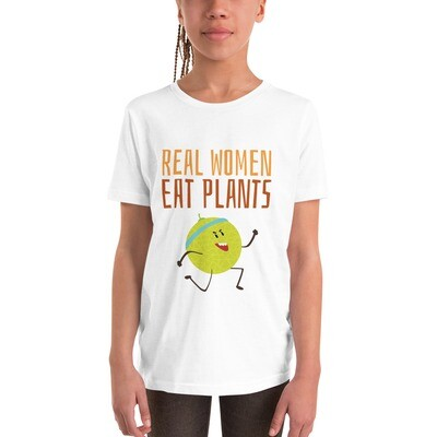 Real Women Eat Plants Youth Short Sleeve T-Shirt Muskmelon