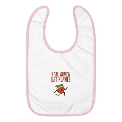 Real Women Eat Plants Embroidered Baby Bib Peach
