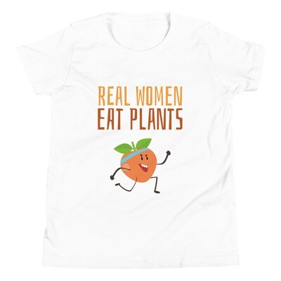 Real Women Eat Plants Youth Short Sleeve T-Shirt Peach