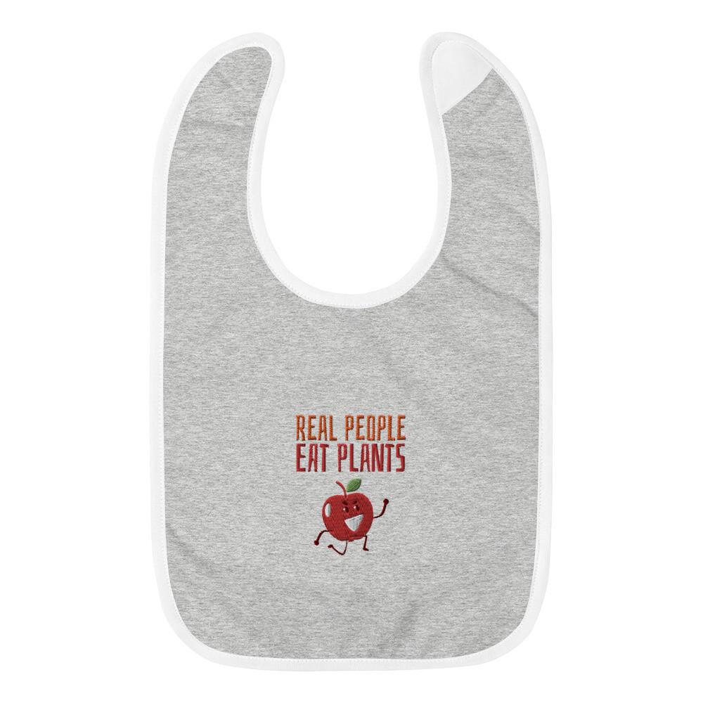 Real People Eat Plants Embroidered Baby Bib Apple