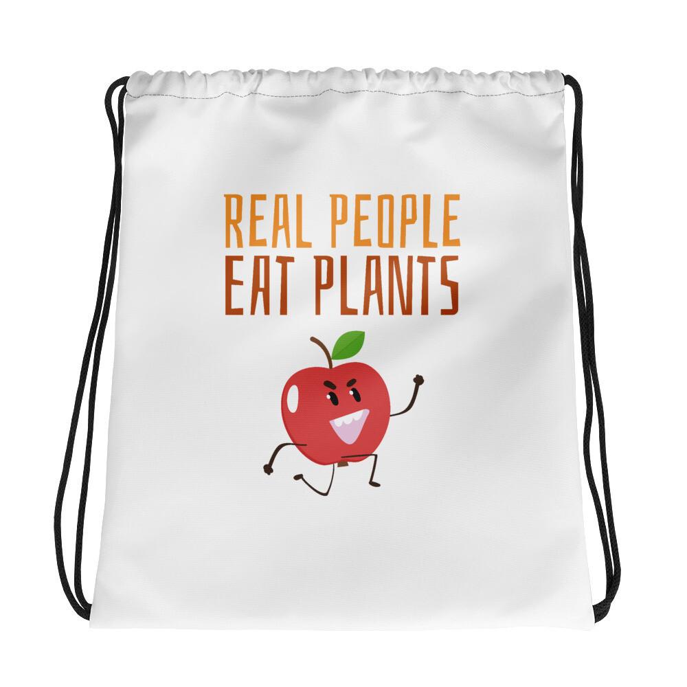 Real People Eat Plants Drawstring bag Apple