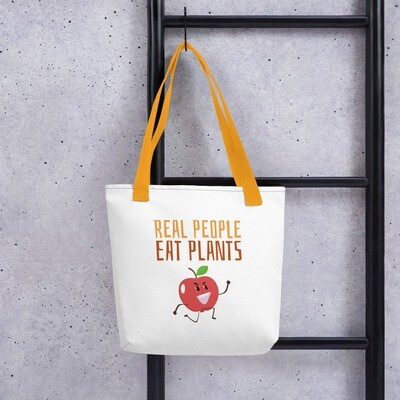 Real People Eat Plants Tote bag Apple