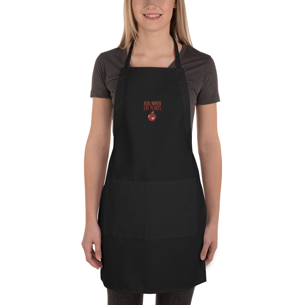 Real Women Eat Plants Embroidered Apron Apple