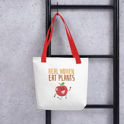 Real Women Eat Plants Tote bag Apple