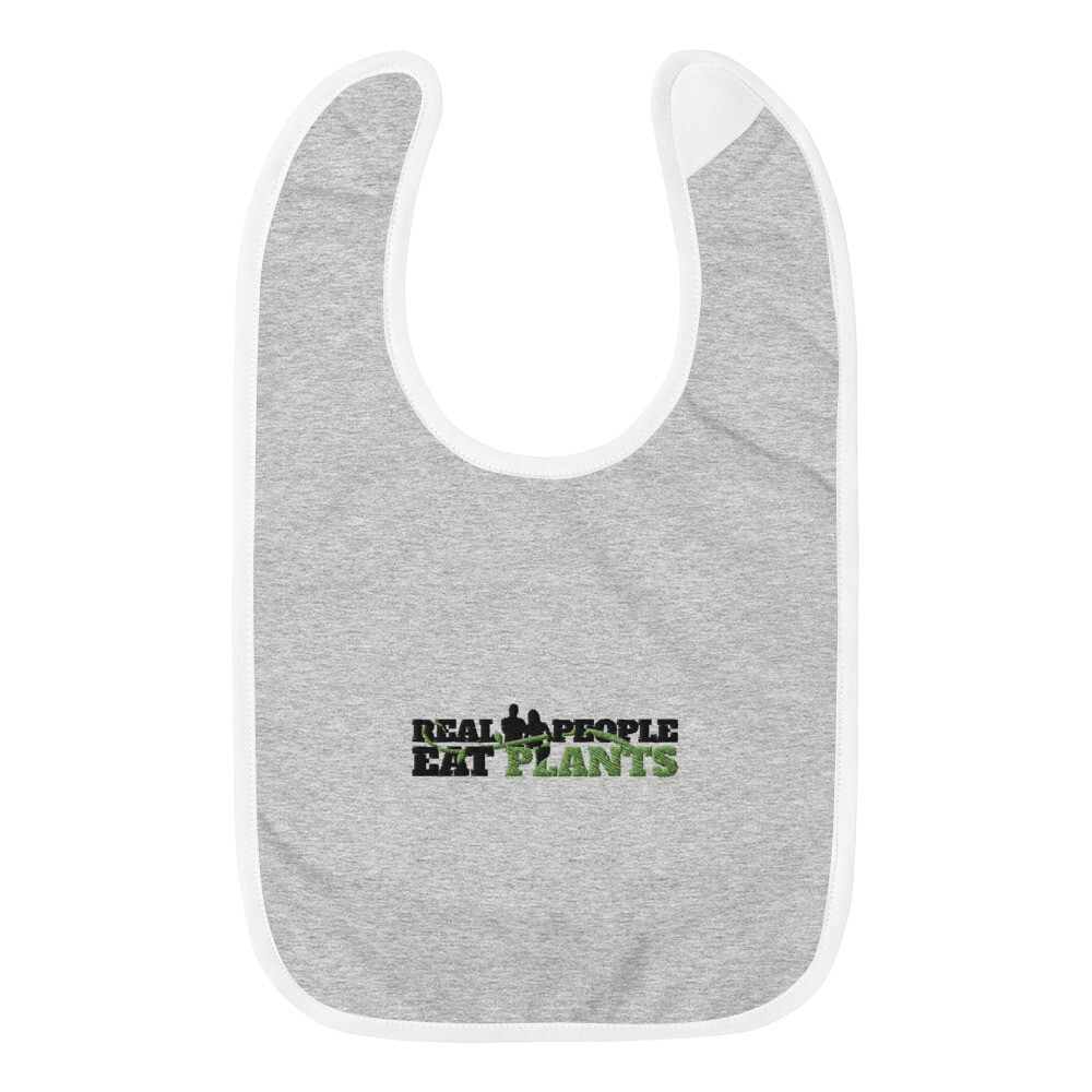 Real People Eat Plants Embroidered Baby Bib Logo