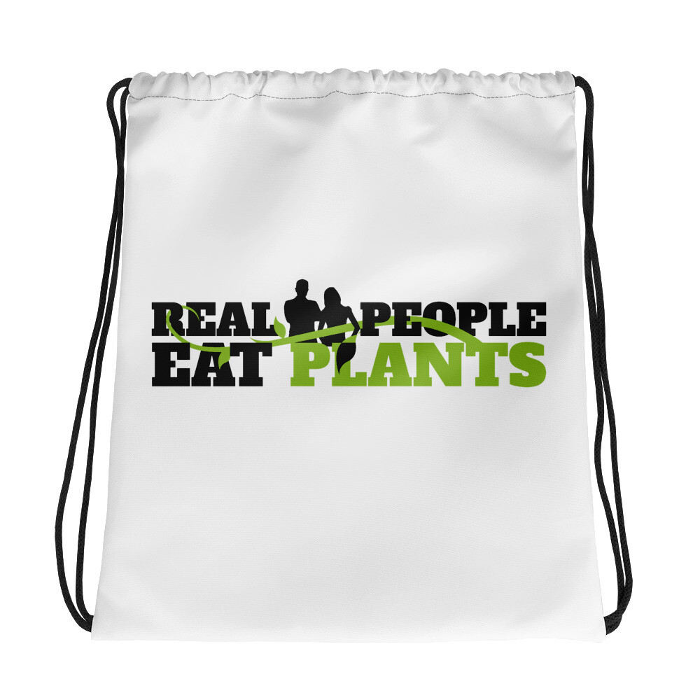 Real People Eat Plants Drawstring bag logo
