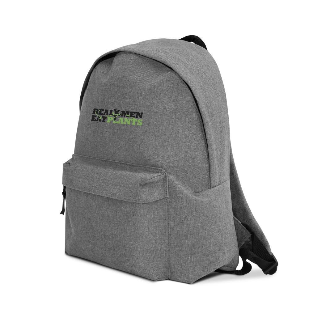 Real Men Eat Plants  Embroidered Backpack Logo