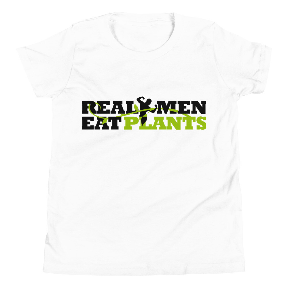 Real Men Eat Plants  Youth Short Sleeve T-Shirt Logo