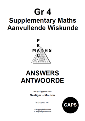 Gr 4 Supplementary Answers/ Antwoorde