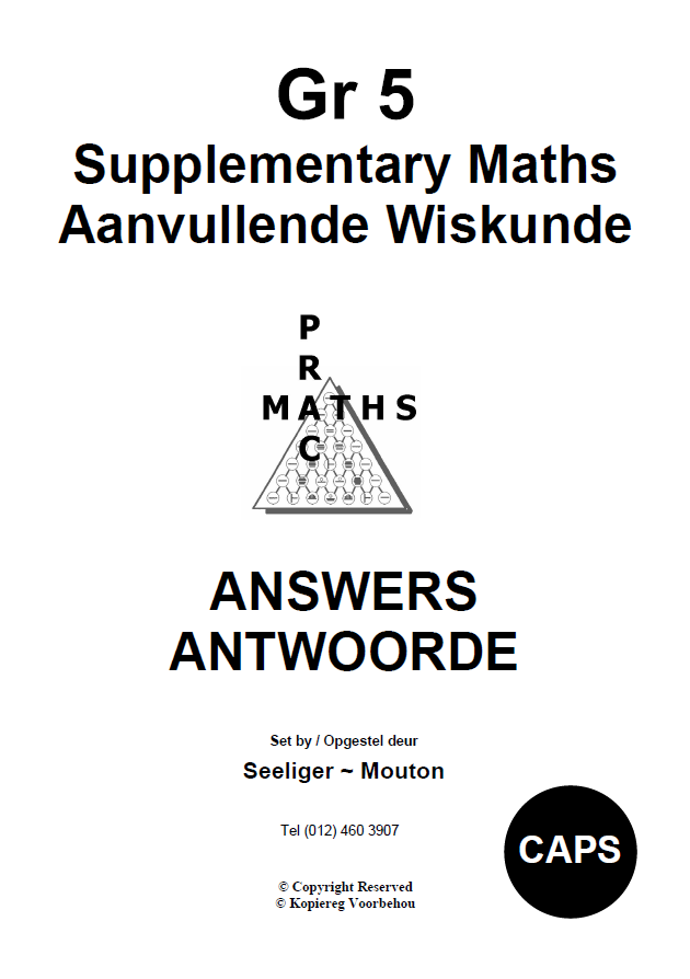 Gr 5 Supplementary Answers/ Antwoorde