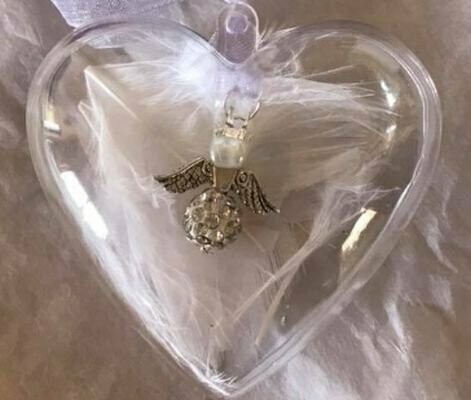 Memorial Crystal Angel In A Heart Shaped Bauble