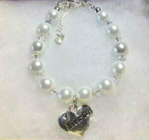 Flower Girl Charm Pearl Bead Handmade Bracelet
