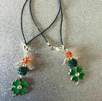 Irish Shamrock Crystal Angel Pendant