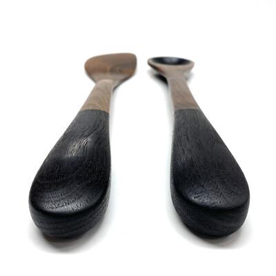 Blackened Walnut Cooking Spoon and Spatula