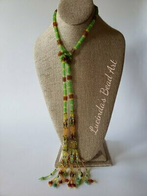 Tubular Stitch Lariat Necklace Green, Yellow, Blue, Brown