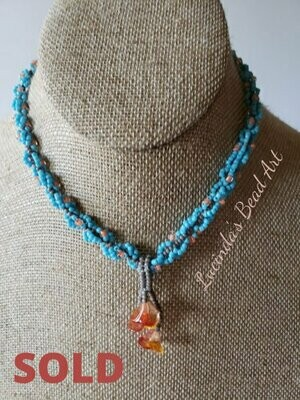 Marmalade Flowers Necklace - Blue, orange, grey and orange glass flowers