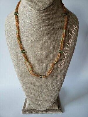 Three Strand Topaz, Green and Orange Necklace
