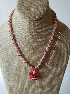 Spiral Seed Bead Necklace in Pink, Red and Gray with 2 pendants
