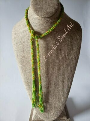 Lariat Seed Bead Necklace in Green with Yellow Flowers