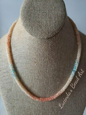Tubular Seed Bead Necklace in Peach, Orange and Blue