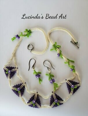 Floral Necklace set in Grape, Rainbow Cream and Green