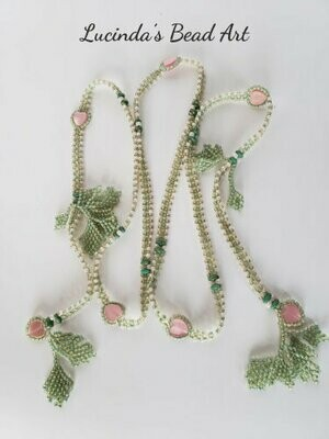 Pink Valentine Lariat with Green Leaves
